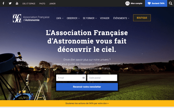 Nouvelle home du site web de l'association